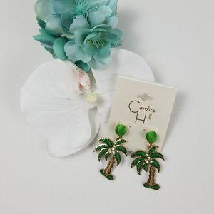 NWT Palm Tree Post Drop Thread Earrings